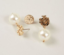 Perlen-Ohrhänger mit Logo Gold