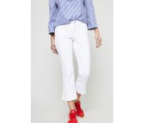Jeans 'Lucille' mit Volantdetails Weiß