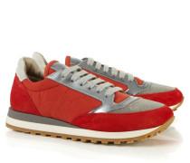 Sneaker mit glänzendem Element Rot/Grau