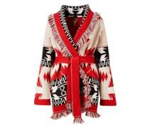 Cashmere-Woll-Cardigan mit Bindegürtel Rot/Multi