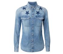 Jeanshemd mit Stern-Verzierung Mittelblau