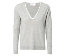 Woll-Pullover mit Elbogenschonern Hellgrau/Weiß