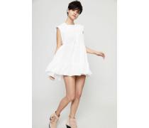 Kurzes Seiden-Kleid mit Raffungen Weiß
