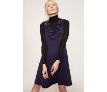 Volant-Kleid Kontrastnaht Blau