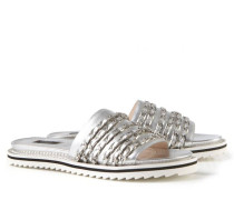 Sandale mit verzierten Riemen Silber