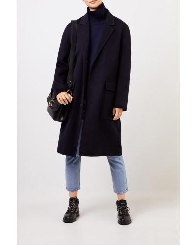 Woll-Cashmere-Mantel Marineblau