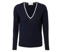 Woll-Pullover mit Elbogenschonern Dunkelblau