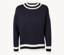 Sweatshirt mit Strickdetails 'Maglia' Blau/Weiß