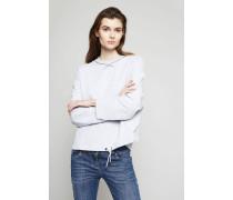 Baumwoll-Sweatshirt mit Perlendetails Hellgrau