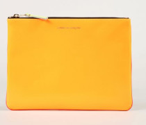 Leder-Clutch zweifarbig Fluo Orange/Pink