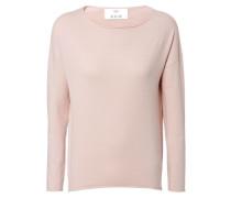 Woll-Pullover mit aufgerolltem Saum Rosé