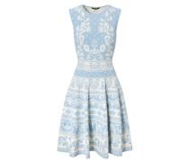 Stretch-Kleid mit floralem Muster Hellblau/Weiß