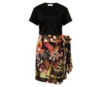 Viskose-Seiden-Kleid Schwarz/Multi
