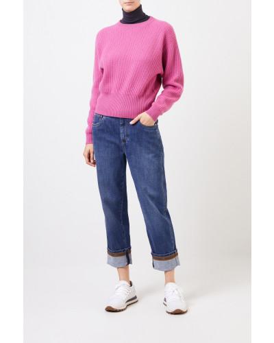 Gerippter Cashmere Pullover Pink