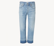 Jeans 'Cora Crop Relaxed Undone' Hellblau