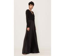 Langes plissiertes Abendkleid Schwarz/Royalblau