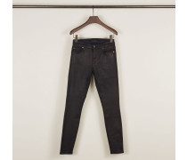 Ankle Skinny Hose in Lederoptik Marineblau