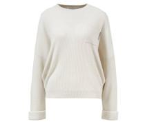 Cashmere-Pullover mit Rippstrickkragen