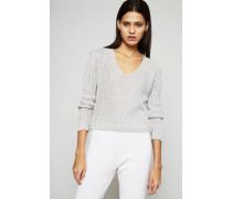 Kurzer Pullover aus Effektgarn Silber