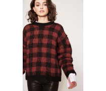 Karierter Wollpullover Bordeaux/Schwarz
