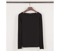 Shirt mit U-Boot-Ausschnitt Schwarz