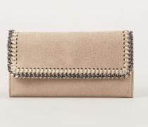 Breites Portemonnaie mit Ketten-Detail Beige
