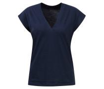 Baumwoll T-Shirt mit V-Ausschnitt Navy