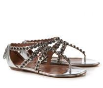 Perlenverzierte Sandalen Silber