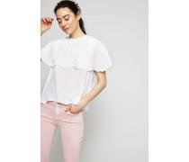 Volant-Bluse mit Bindeelement Weiß