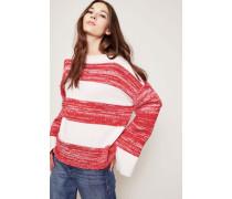 Cashmere-Pullover mit U-Boot-Ausschnitt Weiß/Rot