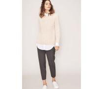 Handstrick-Cashmere-Pullover 'Claire' Natur/Rosé