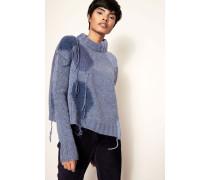 Cropped Pullover 'Ovira Patch' Blau