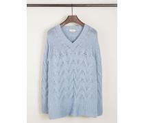 Cashmere-Pullover mit Zopfmuster Blau