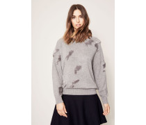 Cashmere Pullover mit Fake-Fur Details Light Grey