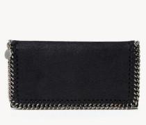 Breites Portemonnaie mit Ketten-Detail Schwarz