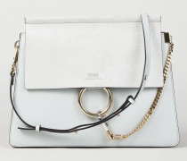 Veloursleder-Schultertasche 'Faye Medium' Airy Grey