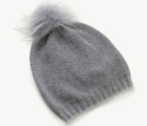 Weiche Mütze mit Perlenverzierung Grau