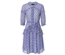Gemustertes Kleid mit Volants Blau/Weiß