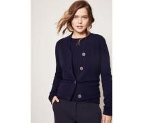 Cashmere-Cardigan mit Schalkragen und Knopfleiste Marineblau