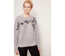 Cashmere-Pullover mit Blumen-Applikation Grau