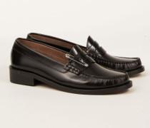 Leder-Loafer mit Kunstfell-Innensohle Schwarz