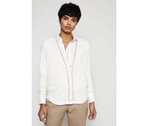 Cashmere-Cardigan mit Perlenverzierung Weiß