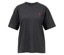 Baumwoll T-Shirt mit Logo-Detail Dunkelgrau