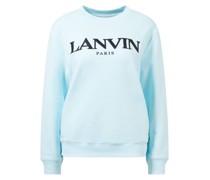 Baumwoll-Sweatshirt mit Logo-Stickerei Eisblau