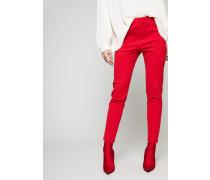 Bügelfaltenhose mit Stretchbündchen Rot