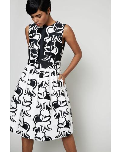Gemustertes Cocktail-Kleid Schwarz/Weiß