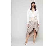 Hemdblusen-Kleid mit Bindedetail 'La Robe Melao' Weiß/Beige