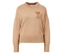 Woll-Pullover mit Logo-Stickerei