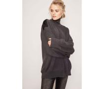 Woll-Pullover mit Leder-Details Charcoal