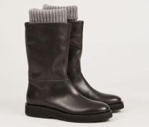 Stiefel mit Strick-Detail am Schaft 'Eleonora' Carbon